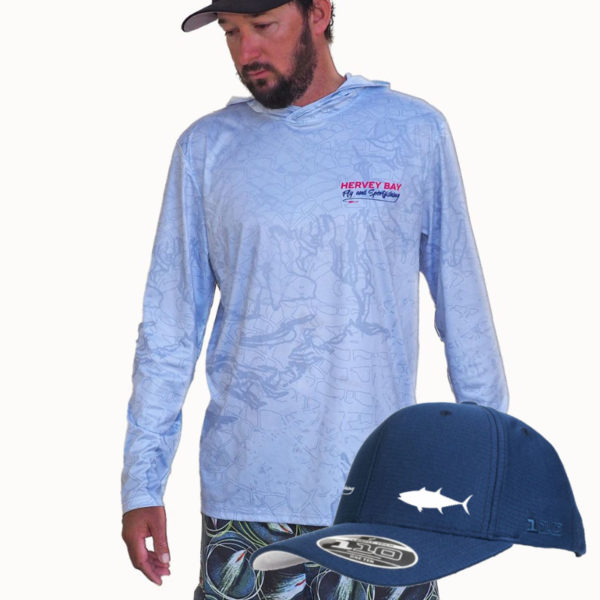 combo switch bait jersey and blue longtail tuna cap